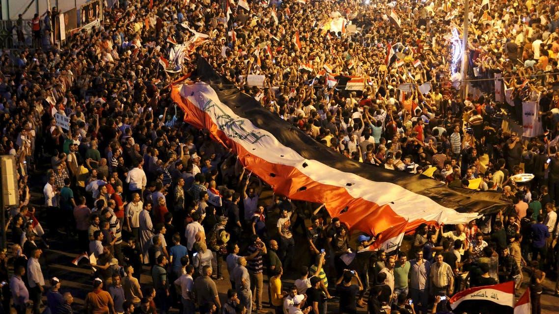 مظاهرات في ساحة التحرير وسط بغداد لدعم قرارات حيدر العبادي