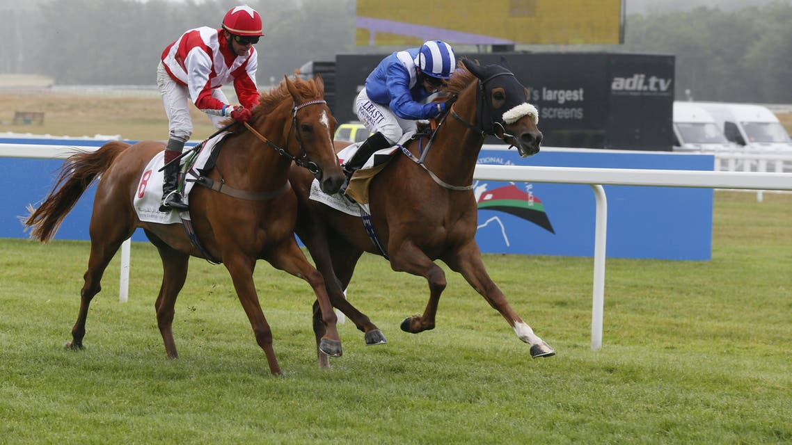 Sheikh Hamdan Bin Rashid Al Maktoum's Rasaasy wins the Emirates Equestrian Federation International Stakes at Newbury. (Nabila Ramdani/ Al Arabiya News)