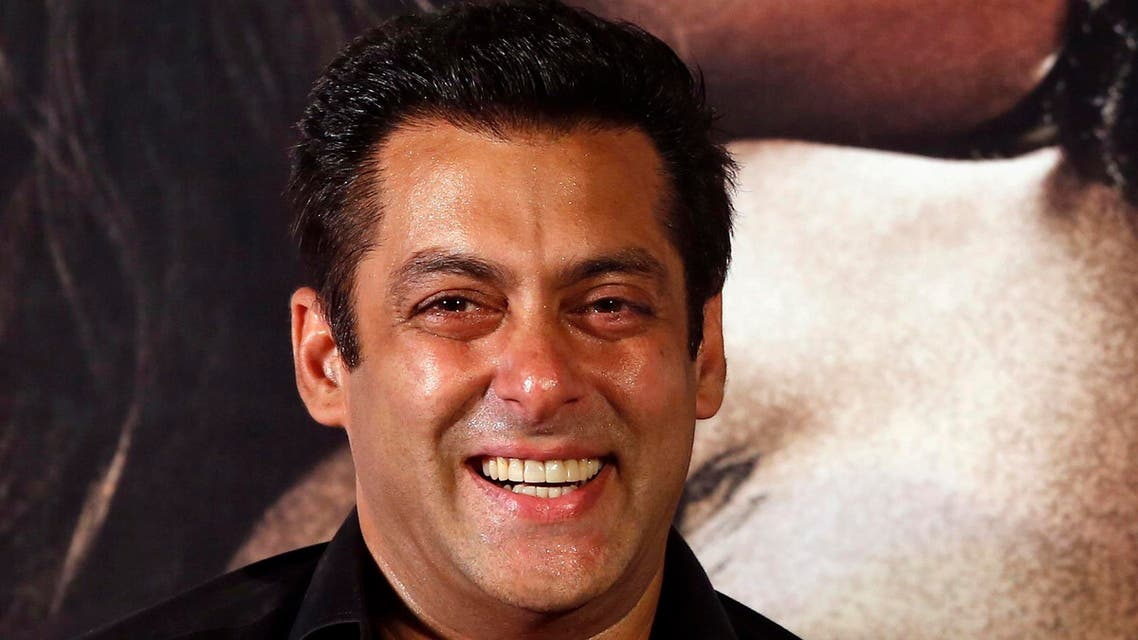 "Indian Bollywood actor Salman Khan laughs during the trailer launch of his movie ""Hero"" in Mumbai, India, 2015. (AP)"