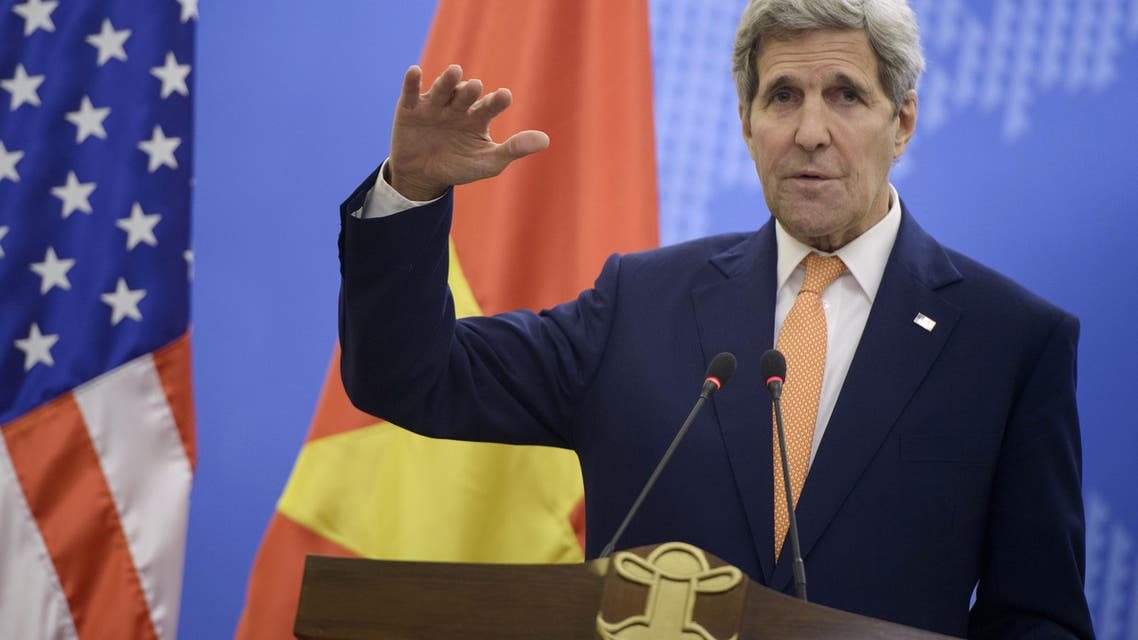 U.S. Secretary of State John Kerry speaks during a press conference with Vietnam's Foreign Minister Pham Binh Minh following their meeting at the Foreign Ministry in Hanoi, Vietnam Friday, Aug. 7, 2015. (Brendan Smialowski/Pool Photo via AP)
