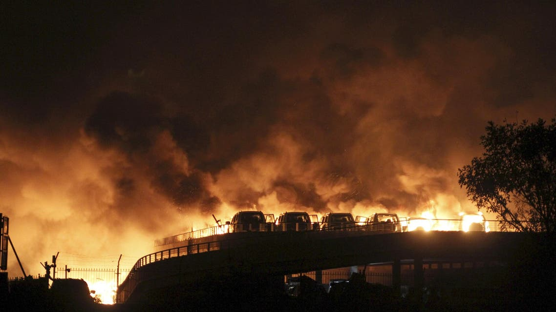 انفجار نيران نار الصين حريق