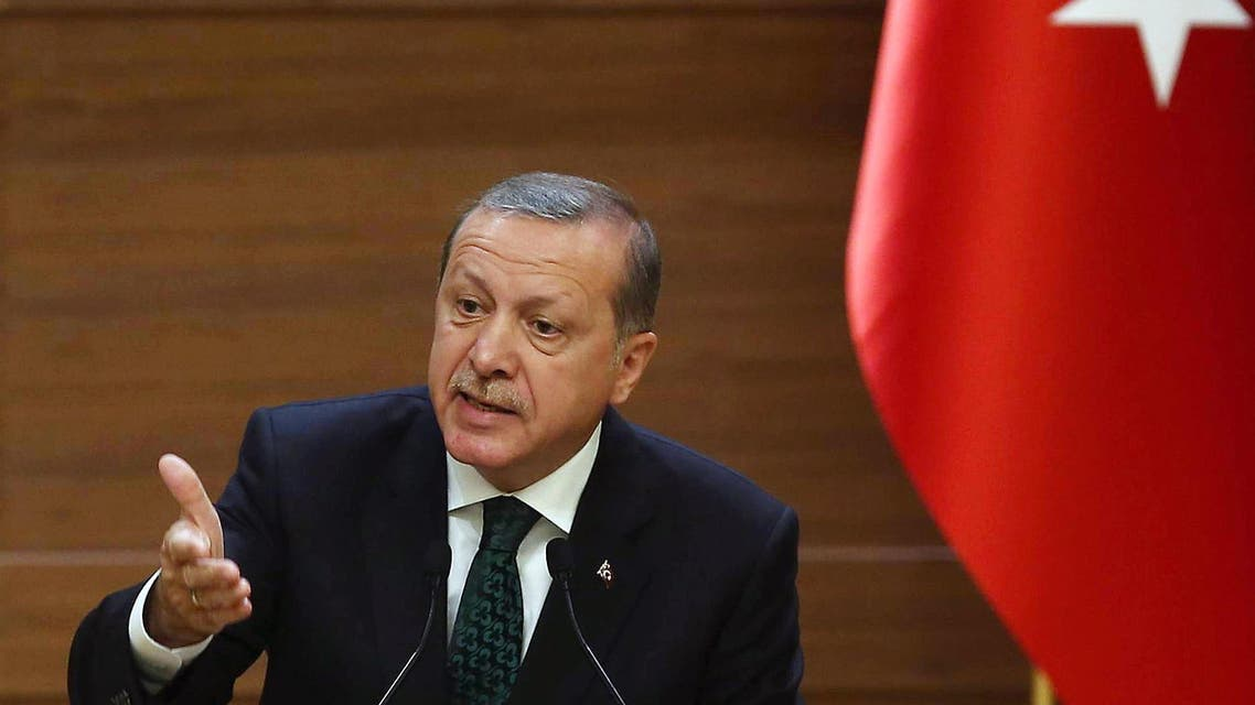 ADM239 - Ankara, -, TURKEY : Turkish President Recep Tayyip Erdogan addresses a meeting at the presidential palace in Ankara on August 12, 2015. Erdogan vowed to fight on against Kurdistan Workers' Party (PKK) militants, in the face of mounting attacks on security forces blamed on the Kurdish rebels. AFP PHOTO/ADEM ALTAN