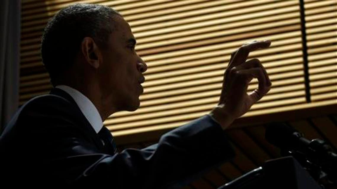 President Barack Obama speaks about the nuclear deal with Iran, Wednesday, Aug. 5, 2015, at American University in Washington. The president said the nuclear deal with Iran builds on the tradition of strong diplomacy that won the Cold War without firing any shots. (AP Photo/Susan Walsh)