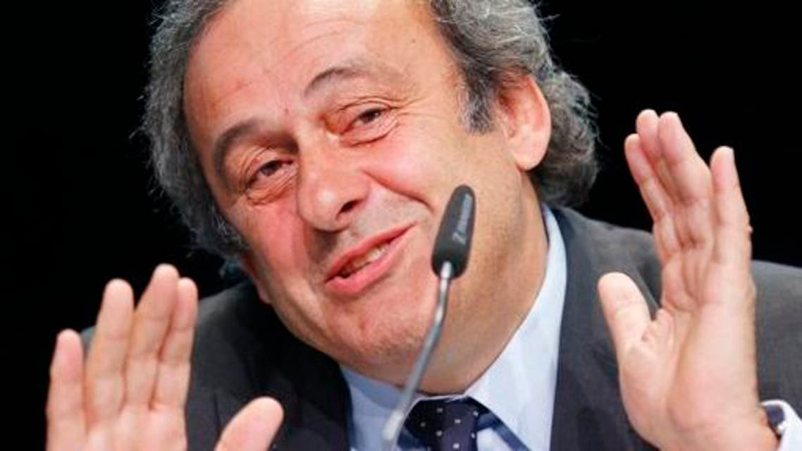 President of UEFA Michel Platini speaks during a press conference following a meeting of the UEFA board ahead of the FIFA congress in a hotel in Zurich, Switzerland, Thursday, May 28, 2015. The FIFA congress with the president's election is scheduled for Friday, May 29, 2015 in Zurich. (AP Photo/Michael Probst)