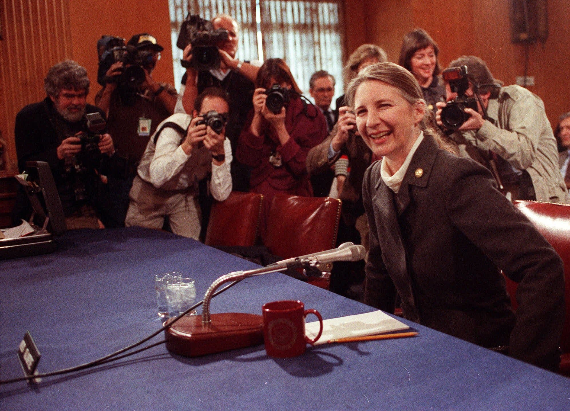"April Glaspie, former U.S. ambassador to Iraq, poses for photographers during an ""informal conversation"" of the Senate Foreign Relations Committee on Capitol Hill in Washington, D.C., on March 21, 1991. (File photo: AP)"