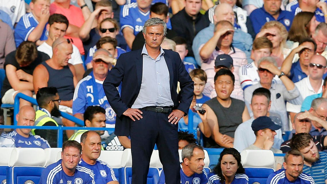 Chelsea's manager Jose Mourinho and team doctor Eva Carneiro, third from right, during the English Premier League soccer match between Chelsea and Swansea City. AP