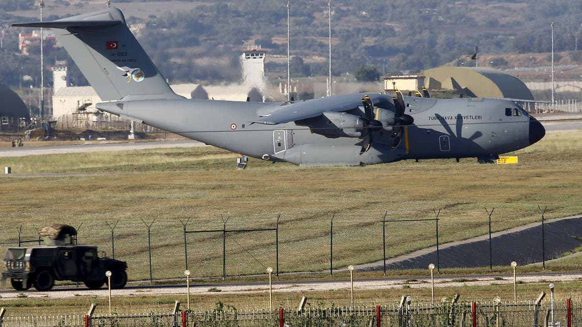 A Turkish Air Force A400M tactical transport aircraft is parked at Incirlik airbase in the southern city of Adana, Turkey, July 24, 2015. (Reuters)