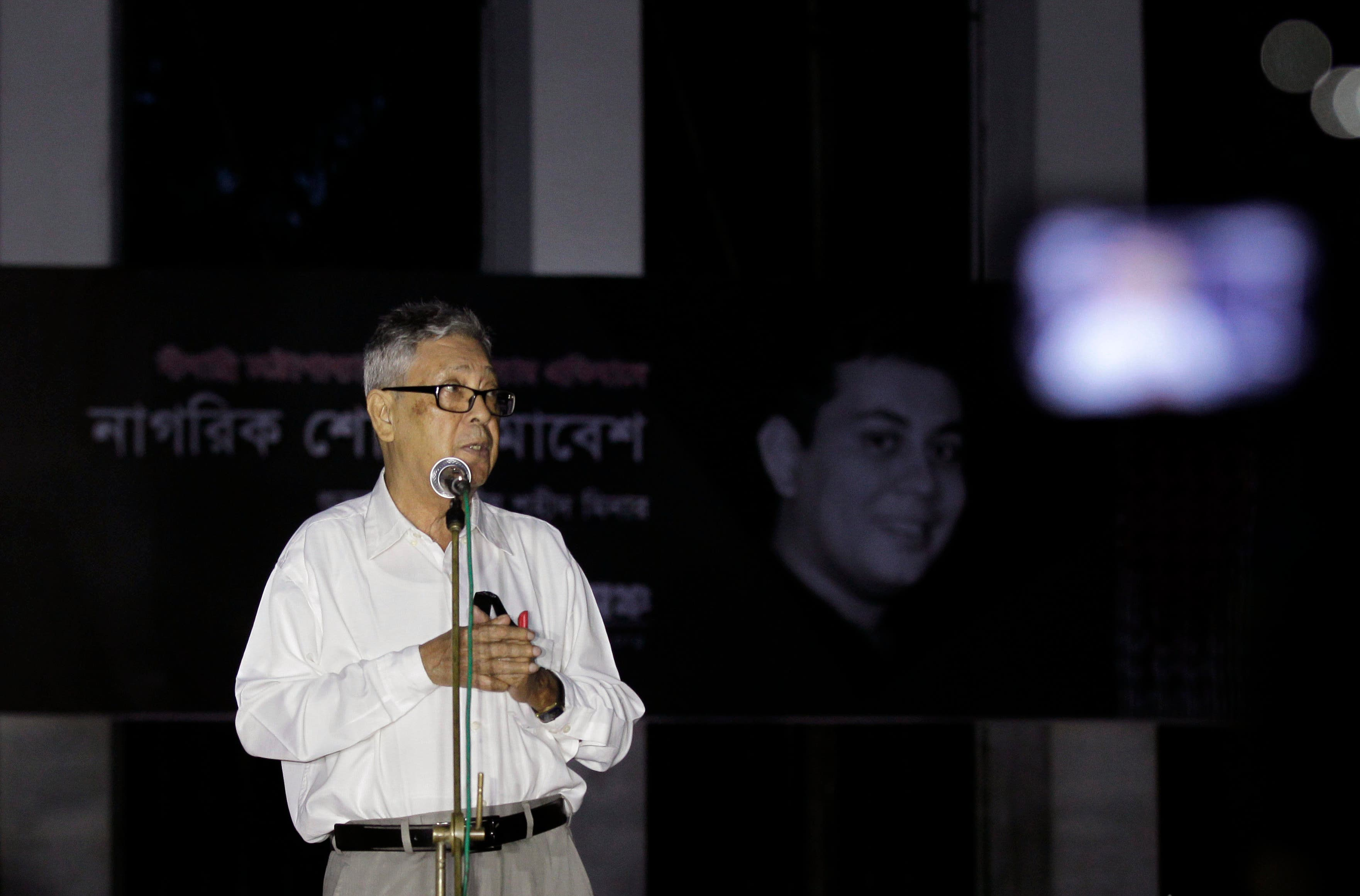 Ajay Roy, father of a prominent Bangladeshi-American blogger Avijit Roy, who was hacked to death on the streets of Bangladesh's capital, gives a speech during a protest against the killing of secular blogger Niladri Chottopadhay Niloy in Dhaka, Bangladesh, Friday, Aug. 14, 2015. Two suspected members of a Bangladeshi Muslim militant group, including one who was out on bail on a charge of attempted murder, were arrested in the killing of the secular blogger in the fourth such deadly attack this year. (AP Photo/A.M. Ahad)