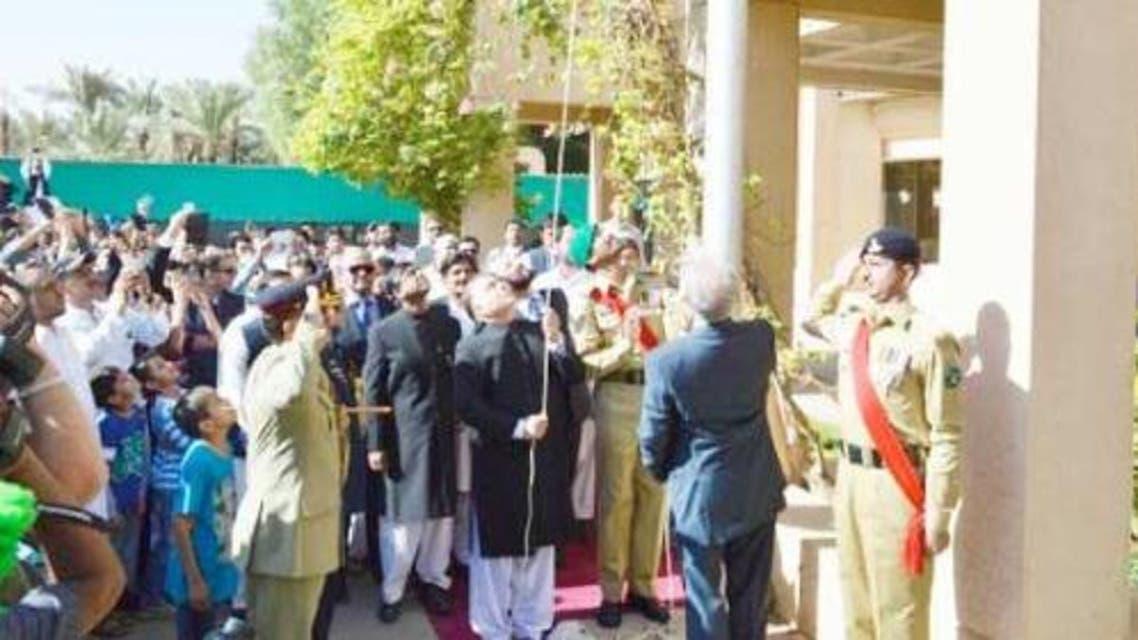 Pakistan Ambassador Manzur ul Haq unfurls the national flag at the embassy in Riyadh. (Photo courtesy: saudi Gazette)