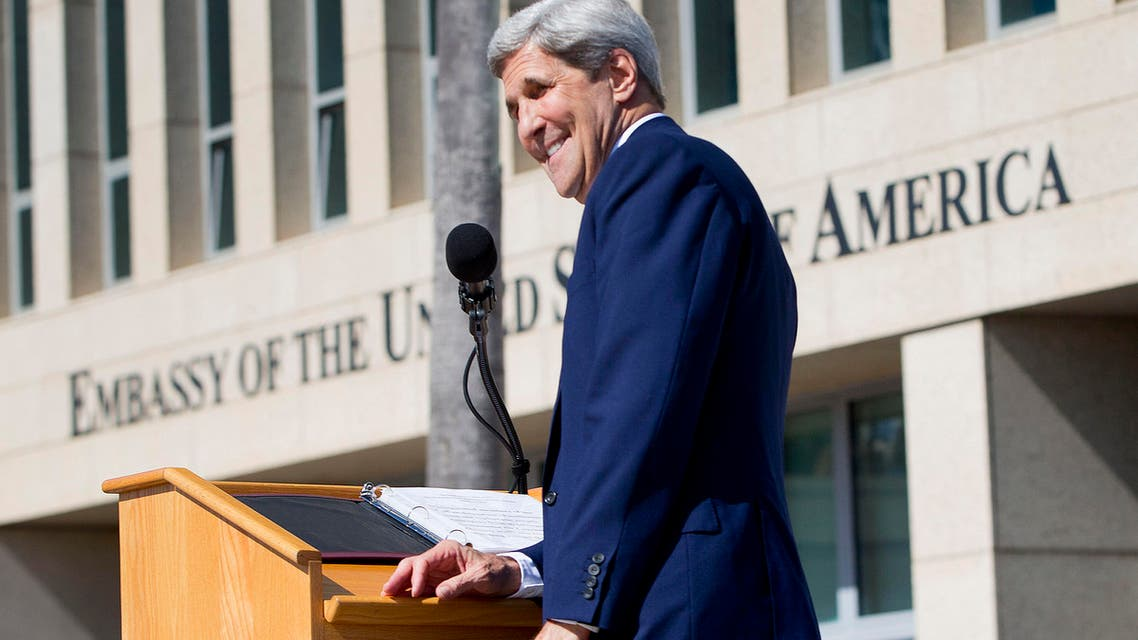 Secretary of State John Kerry smiles while delivering his remarks during the flag raising ceremonies at the newly reopened embassy in Havana, Cuba. Friday, Aug. 14, 2015. (AP)