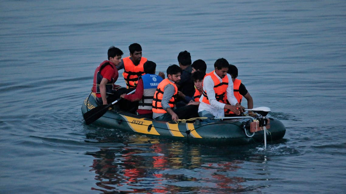 Migrants from the coastal town of Bodrum, Turkey, make their way to the Greek island of Kos, on Saturday, Aug. 15, 2015. (AP)