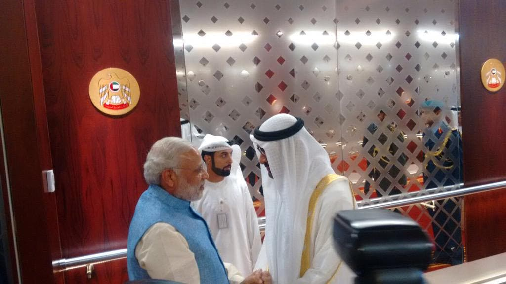 'I am very optimistic about this visit. I am confident the outcomes of the visit will boost India-UAE ties,' Modi wrote on his Twitter account. (Photo courtesy of Twitter)