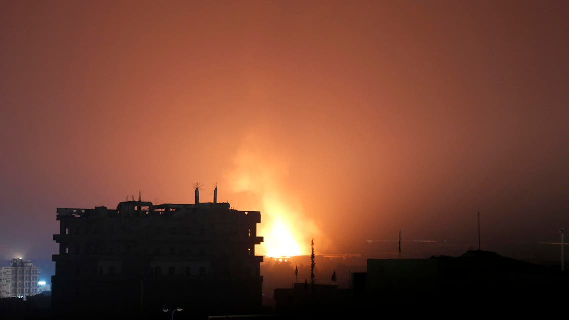Fire and smoke rises after a Saudi airstrike in Sanaa, Yemen, Monday, July 13, 2015. (AP)