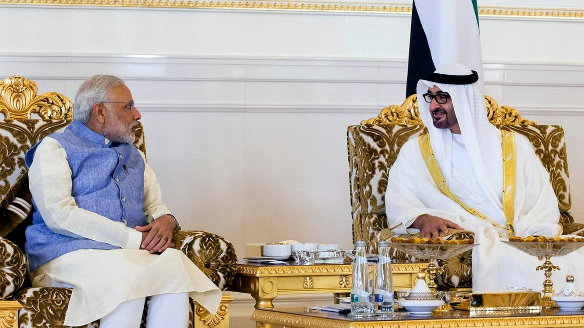 Crown Prince of Abu Dhabi and Deputy Supreme Commander of the UAE Armed Forces, right, receives Narendra Modi, Prime Minister of India, left, at the presidential lounge of the Abu Dhabi airport. (File photo: AP)