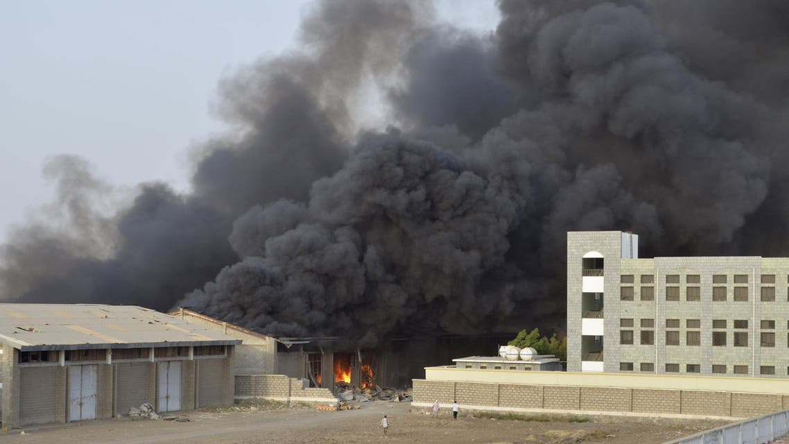 Smoke billows from the site of a Saudi-led air strike in Yemen's western port city of Hodiedah. (Reuters