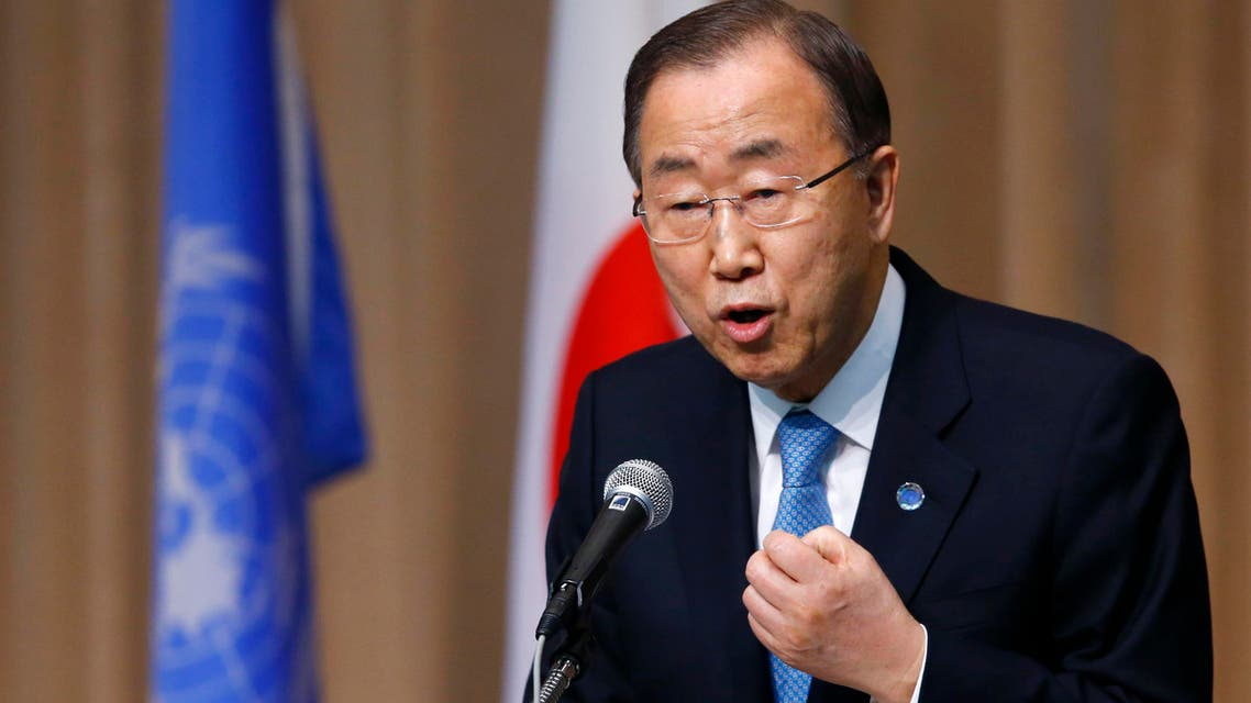 In this March 16, 2015, file photo, U.N. Secretary General Ban Ki-moon delivers a speech during a symposium of the 70th anniversary of the United Nations at the U.N. University in Tokyo. (File photo: AP)