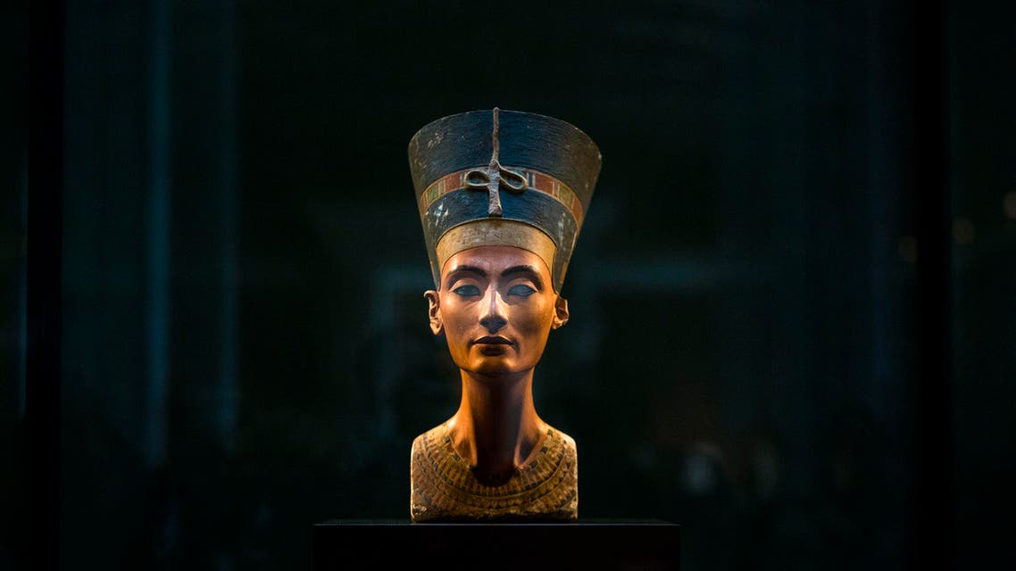 In this Sept. 10, 2014 file photo, a 3,300-year-old bust of Queen Nefertiti stands on its socle, at the New Museum in Berlin, Germany. AP