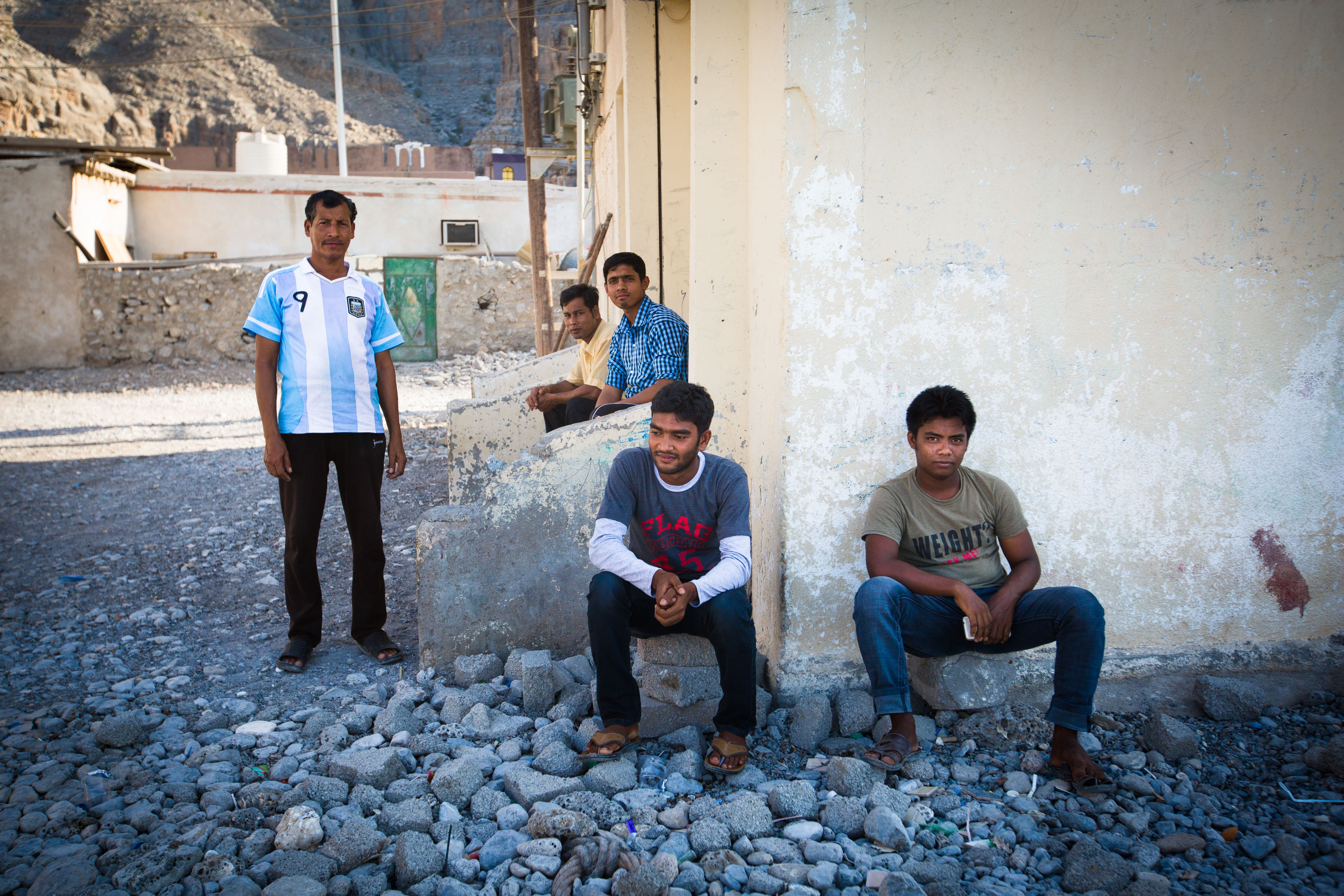 South Asian workers in town to construct a new road up the mountain. (Amanda Fisher/Al Arabiya News)