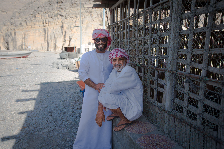 The two Alis - Ali Al Kumzari The Younger (left) and Ali Al Kumzari the Elder (right). (Amanda Fisher/Al Arabiya News)