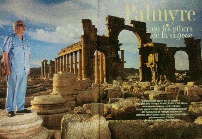 صفحته في فيسبوك تعلوها صورة له أمام آثار تدمر، توأم التاريخ منذ أكثر من 2000 عام