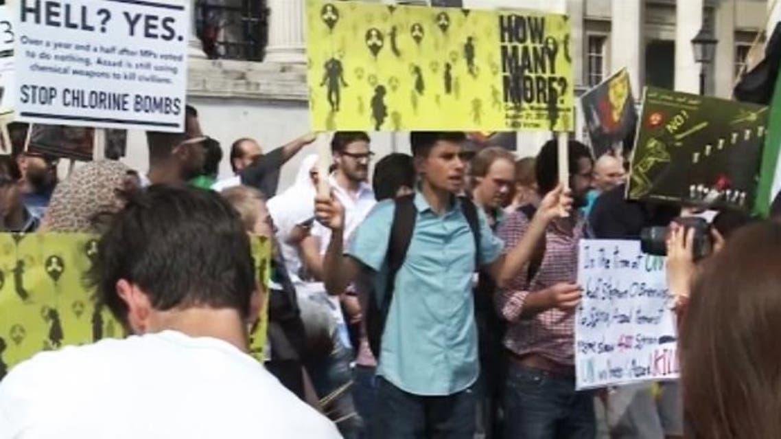 تظاهرات ضد مجزرة الكيماوي في لندن بريطانيا