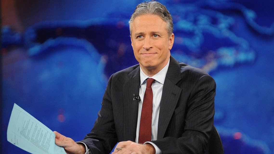 "television host Jon Stewart during a taping of ""The Daily Show with Jon Stewart"" in New York. (File photo: AP)"