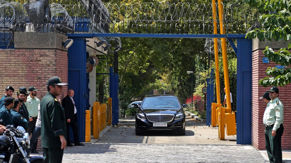 Escorted by Iranian police, a convoy carrying British Foreign Secretary Philip Hammond leaves the British Embassy in Tehran, Iran, Sunday, Aug. 23, 2015.  (AP)