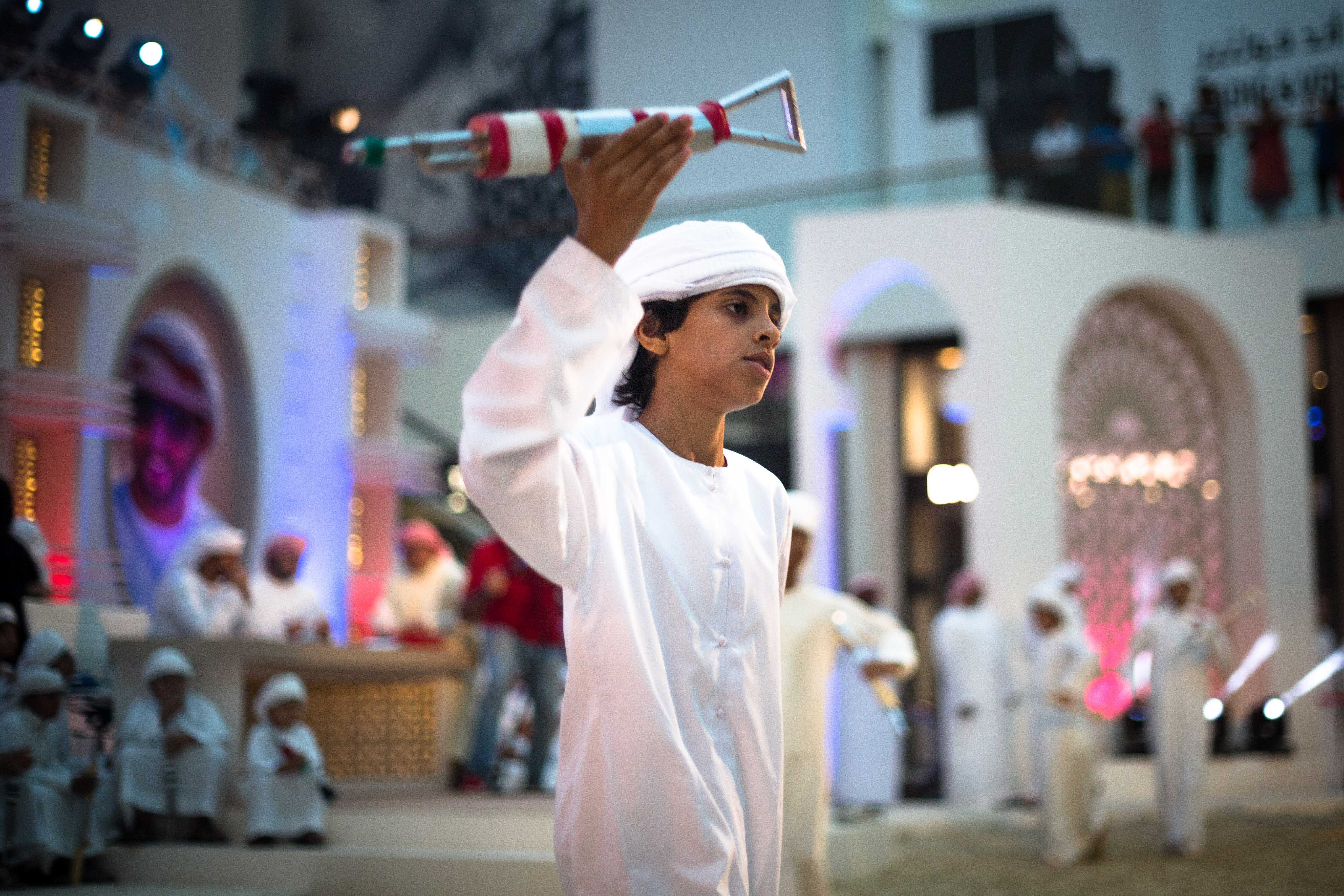 Youlah is a male-only performance that sees each 'yaweel' moving in time to traditional music and chanted poetry. (Amanda Fisher/ Al Arabiya News)