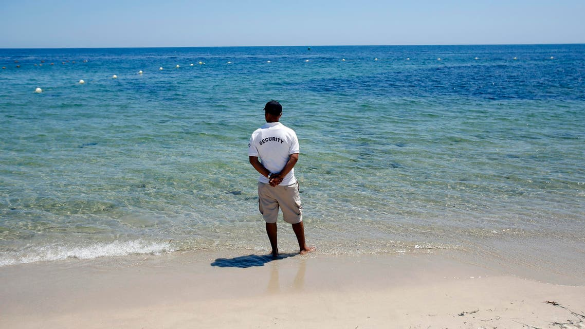 A security officer standing on the beach near the scene of a shooting attack in Sousse, Tunisia, Saturday, June 27, 2015. (File: AP)