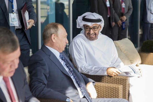 Sheikh Mohammed bin Zayed, Crown Prince of Abu Dhabi and Deputy Supreme Commander of the Armed Forces, and Russian President Vladimir Putin at the opening of the MAKs air show outside of Moscow  (Photo courtesy of WAM)
