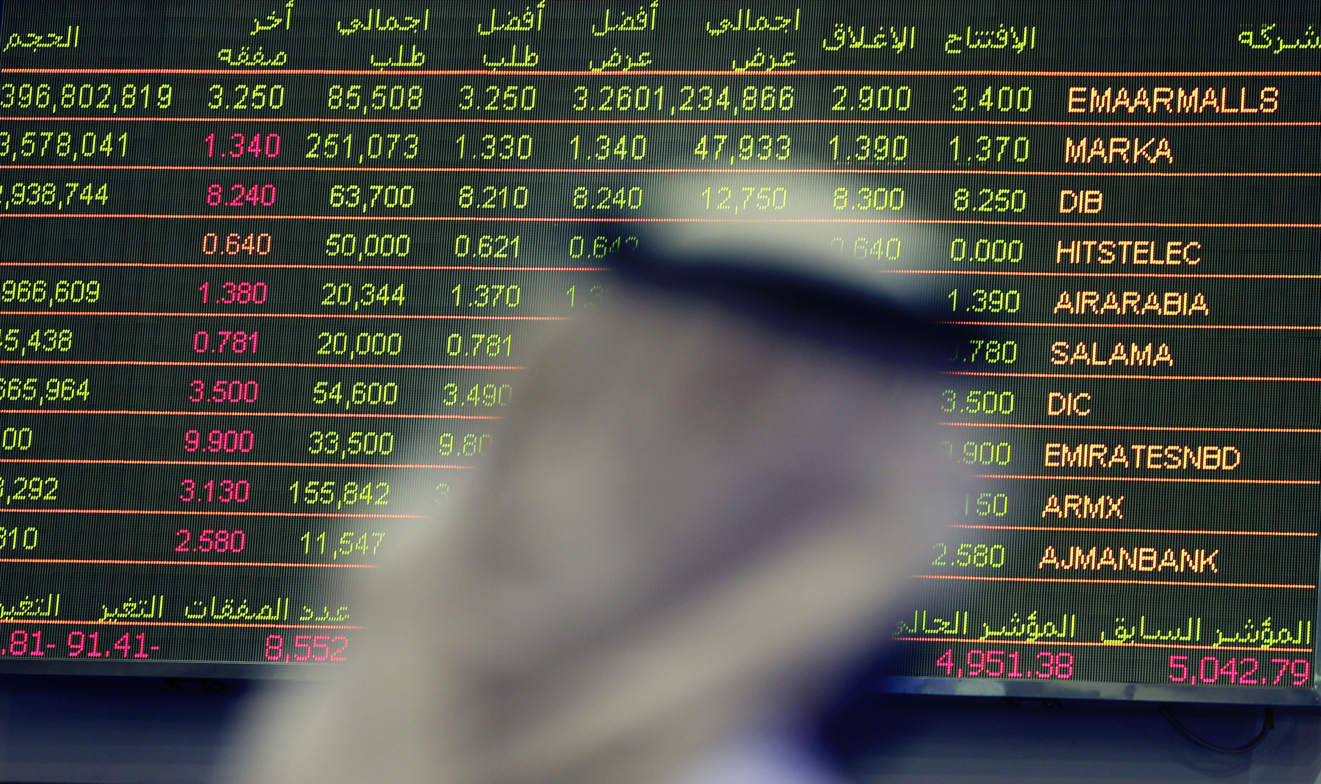 An Emirati trader checks the stocks of Emaar Malls on the screen at the Dubai Financial Market in United Arab Emirates (AP)