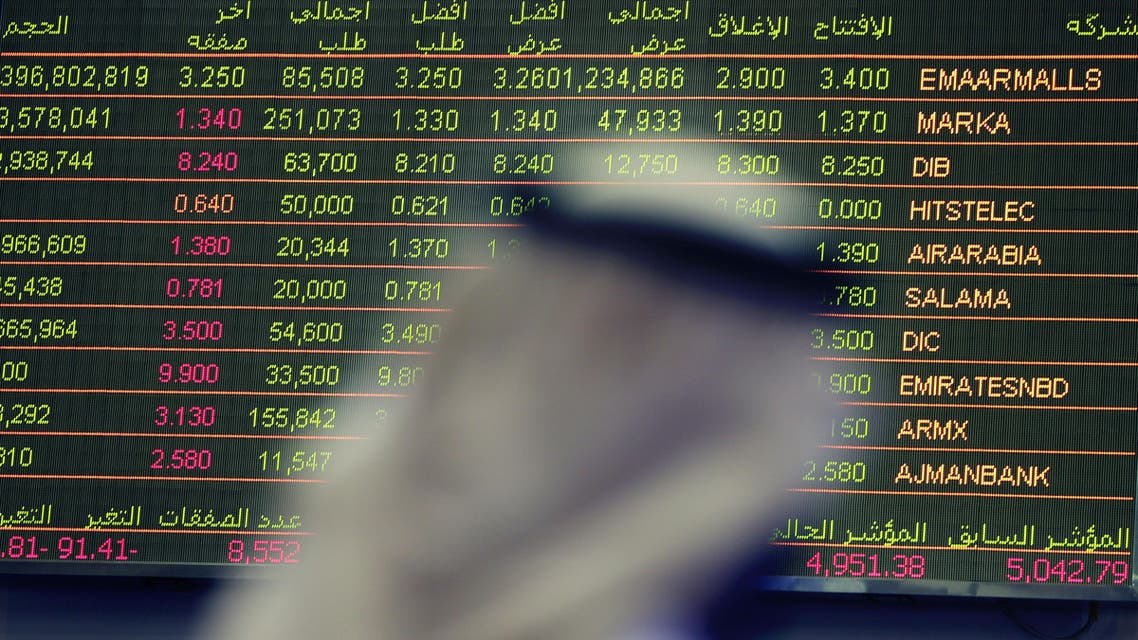 An Emirati trader checks the stocks of Emaar Malls on the screen at the Dubai Financial Market in United Arab Emirates, Thursday, Oct. 2, 2014. Shares in the owner of the Middle East's largest mall jumped over 12 percent in the first day of trading on the Dubai stock exchange after its initial public offering. (AP Photo/Kamran Jebreili)