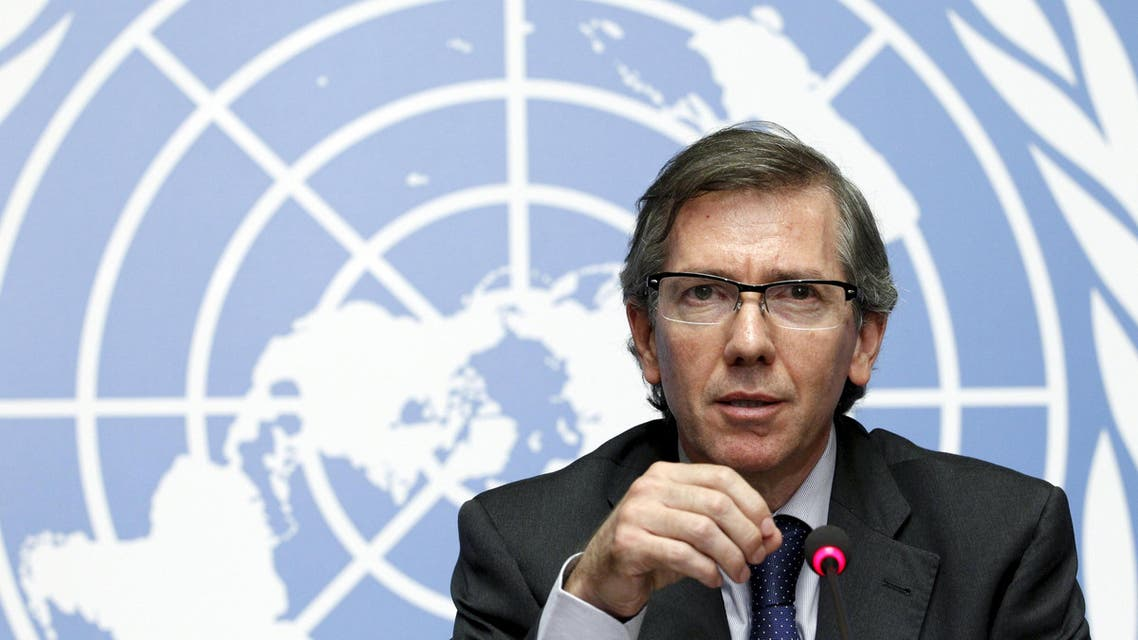 Special Representative of the Secretary-General for Libya and Head of United Nations Support Mission in Libya (UNSMIL) Bernardino Leon speaks at the Palais des Nations in Geneva, August 11, 2015. UN-sponsored peace talks on Libya are due to open in Geneva, chaired by Leon, with warring parties in Libya and other parties to end the political and military conflict in Libya. REUTERS/Pierre Albouy