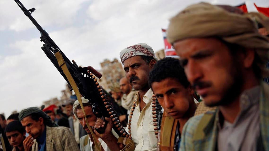 A Shiite Houthi rebel holds his weapon as he attends a rally in Sanaa, Yemen, Monday, Aug. 24, 2015. (AP)