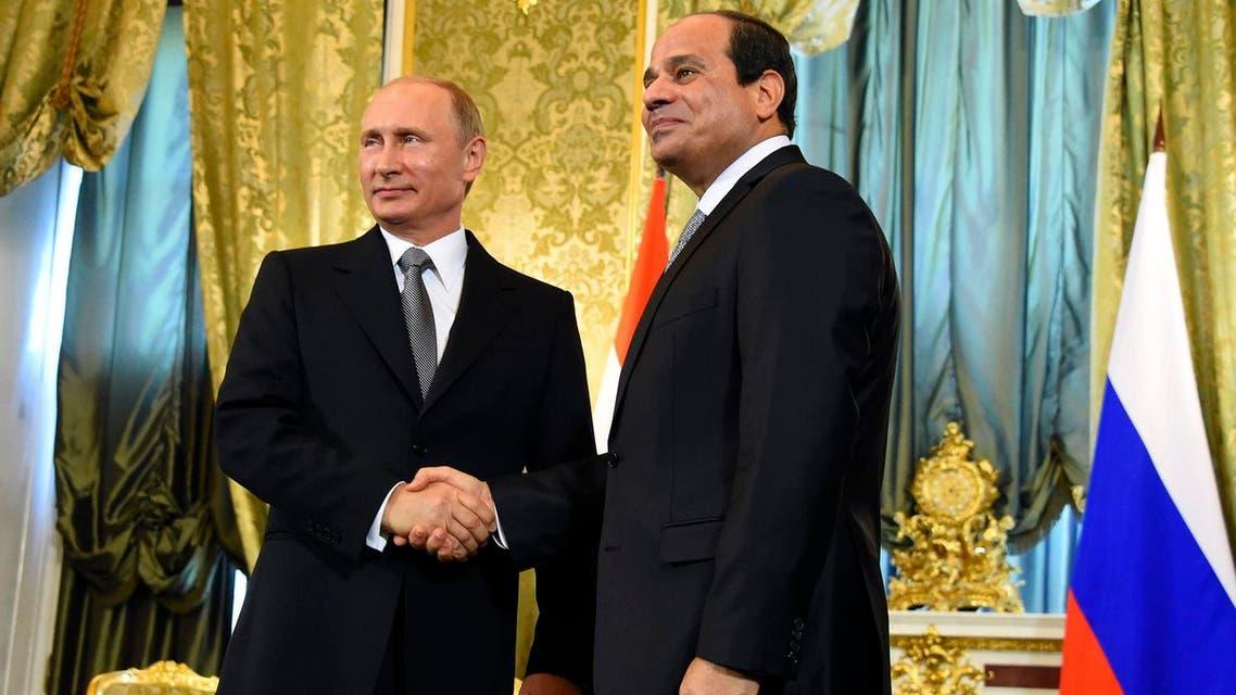 Russian President Vladimir Putin, left, greets Egyptian President Abdel-Fattah el-Sissi in Moscow, Russia, Wednesday, Aug. 26, 2015. AP