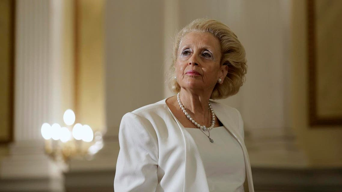 Vassiliki Thanou, 65, stands during a swearing in ceremony at the Presidential Palace in Athens. (AP)