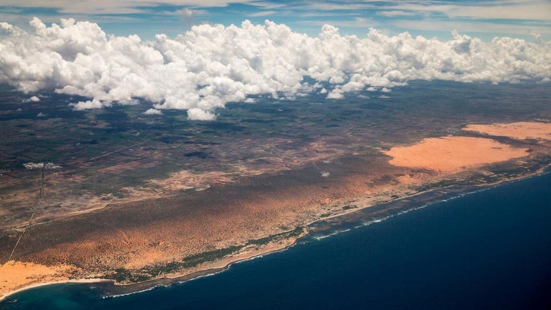 The Somali coast is seen from Secretary of State John Kerry's plane as it nears the airport in Mogadishu, Somalia on Tuesday, May 5, 2015. (AP)