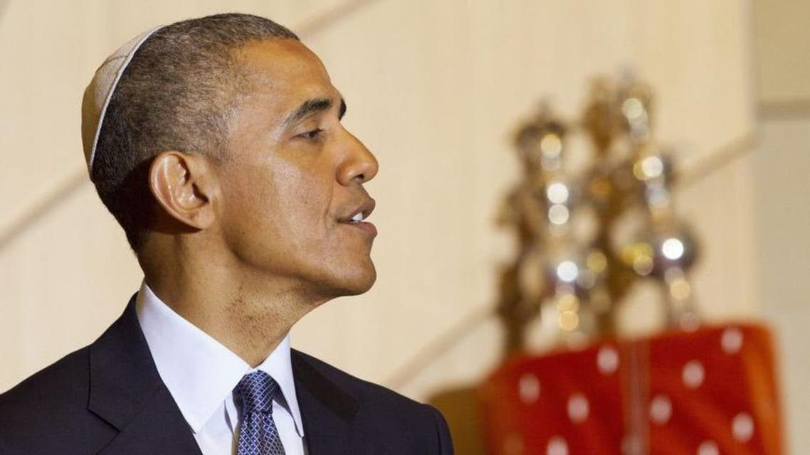 President Barack Obama, wearing a traditional Jewish yarmulke, speaks at Adas Israel Congregation in Washington, Friday May 22, 2015. (AP)