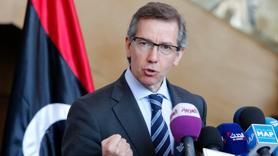 In this Friday, March 20, 2015 file photo, U.N. special envoy to Libya, Bernardino Leon, speaks during a press conference at the Palais des Congres of Skhirate, 30 kilometers (19 miles) south of Rabat, Morocco. AP
