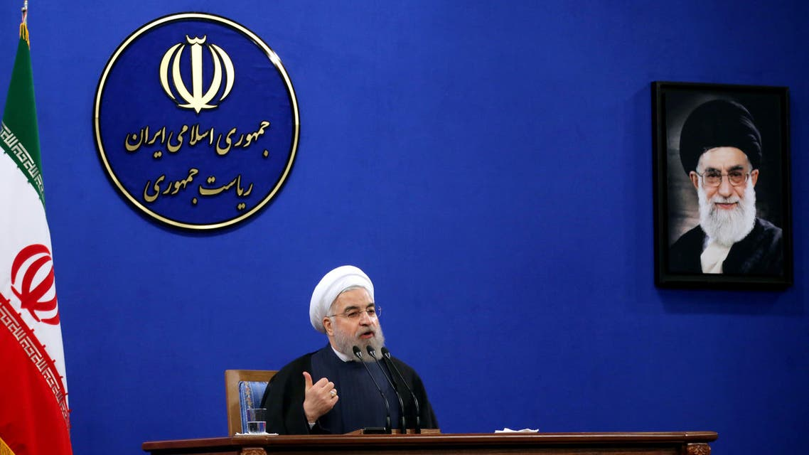 Iranian President Hassan Rouhani delivers a speech during a press conference in the capital Tehran on August 29, 2015. (AFP)