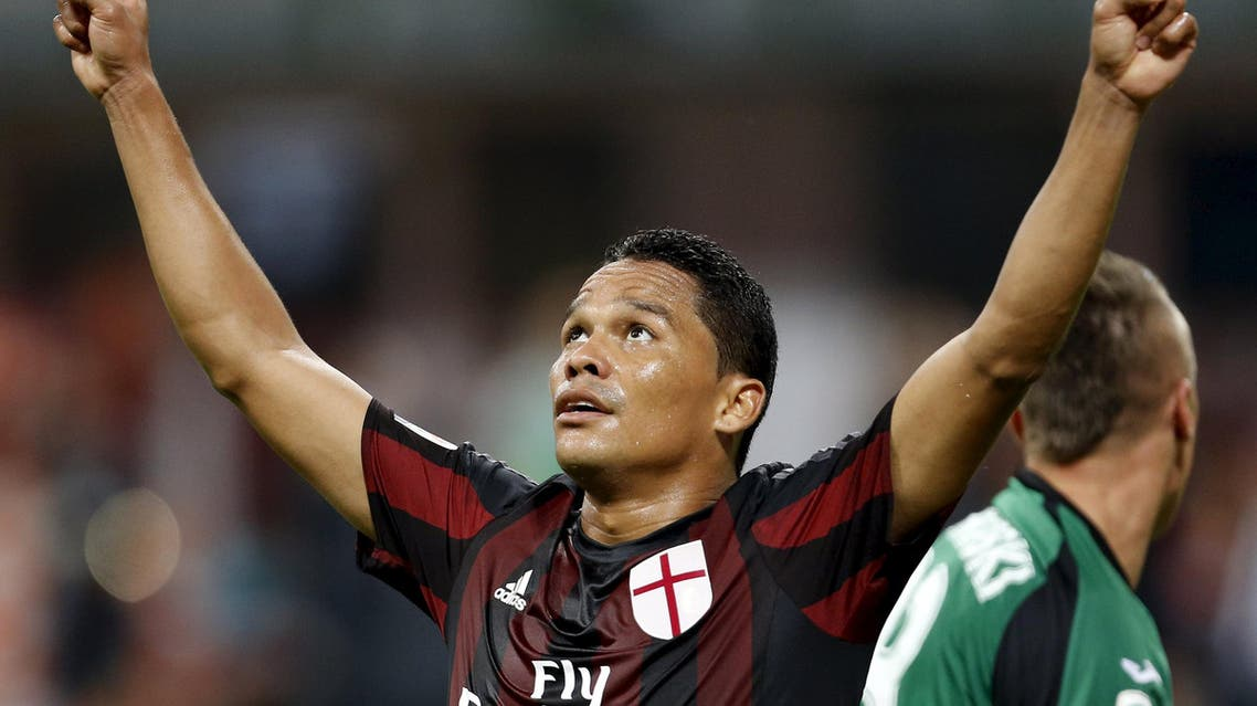 AC Milan's Carlos Bacca celebrates after scoring against Empoli during their Serie A soccer match at San Siro stadium in Milan, August 29, 2015. (Reuters)