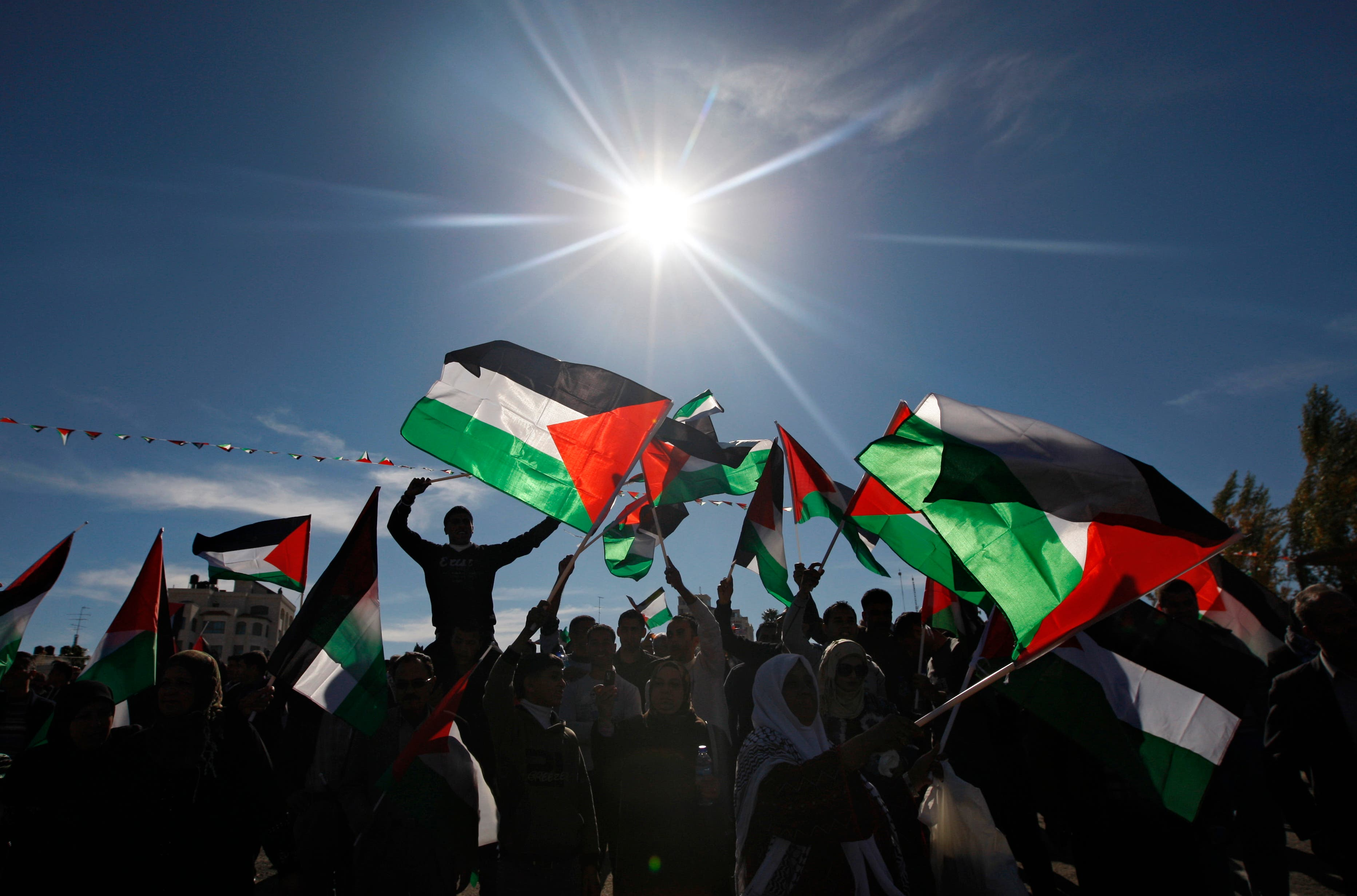 Palestinians wave flags as they celebrate their successful bid to win U.N. statehood recognition in the West Bank city of Ramallah, Sunday, Dec. 2, 2012. (AP)