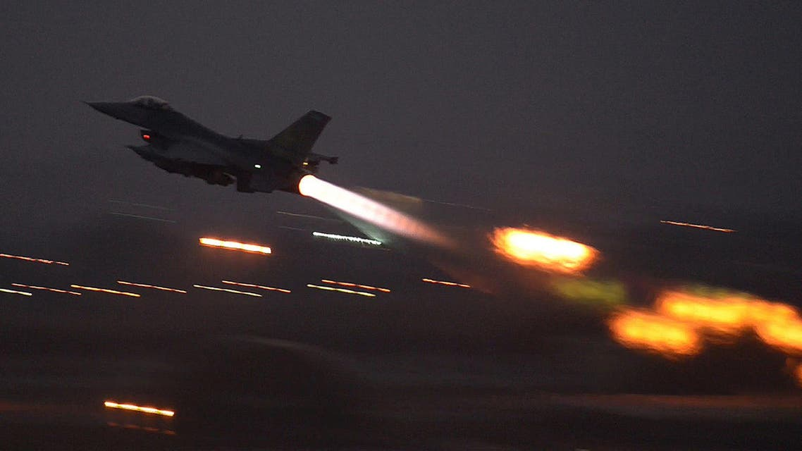 In this image provided by the U.S. Air Force, an F-16 Fighting Falcon takes off from Incirlik Air Base, Turkey. (AP)