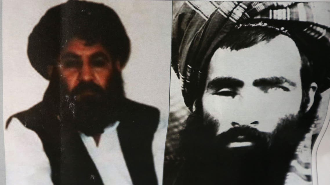 An Afghan newspaper headlines pictures of the new leader of the Afghan Taliban, Mullah Akhtar Mohammad Mansoor, left, and Mullah Mohammad Omar, in Kabul, Afghanistan, Saturday, Aug. 1, 2015. (File photo: AP)