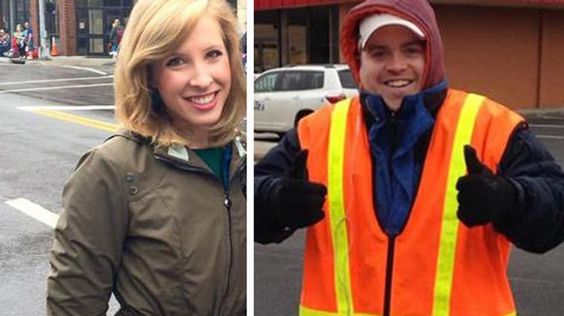 CORRECTS YEAR FLANAGAN WAS FIRED TO 2013 FROM EARLIER THIS YEAR - This undated composite photograph made available by WDBJ-TV shows reporter Alison Parker, left, and cameraman Adam Ward. Parker and Ward were fatally shot during an on-air interview, Wednesday, Aug. 26, 2015, in Moneta, Va. Authorities identified the suspect as fellow journalist Vester Lee Flanagan II, who appeared on WDBJ-TV as Bryce Williams. Flanagan was fired from the station in 2013. (Courtesy of WDBJ-TV via AP) MANDATORY CREDIT
