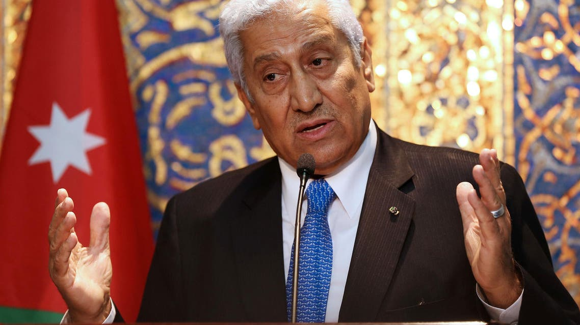 Jordanian Prime Minister Abdullah Ensour holds a press conference with Lebanese Prime Minister Tammam Salam (not pictured) in Amman, Jordan, Wednesday, Aug. 12, 2015. (AP Photo/Raad Adayleh)