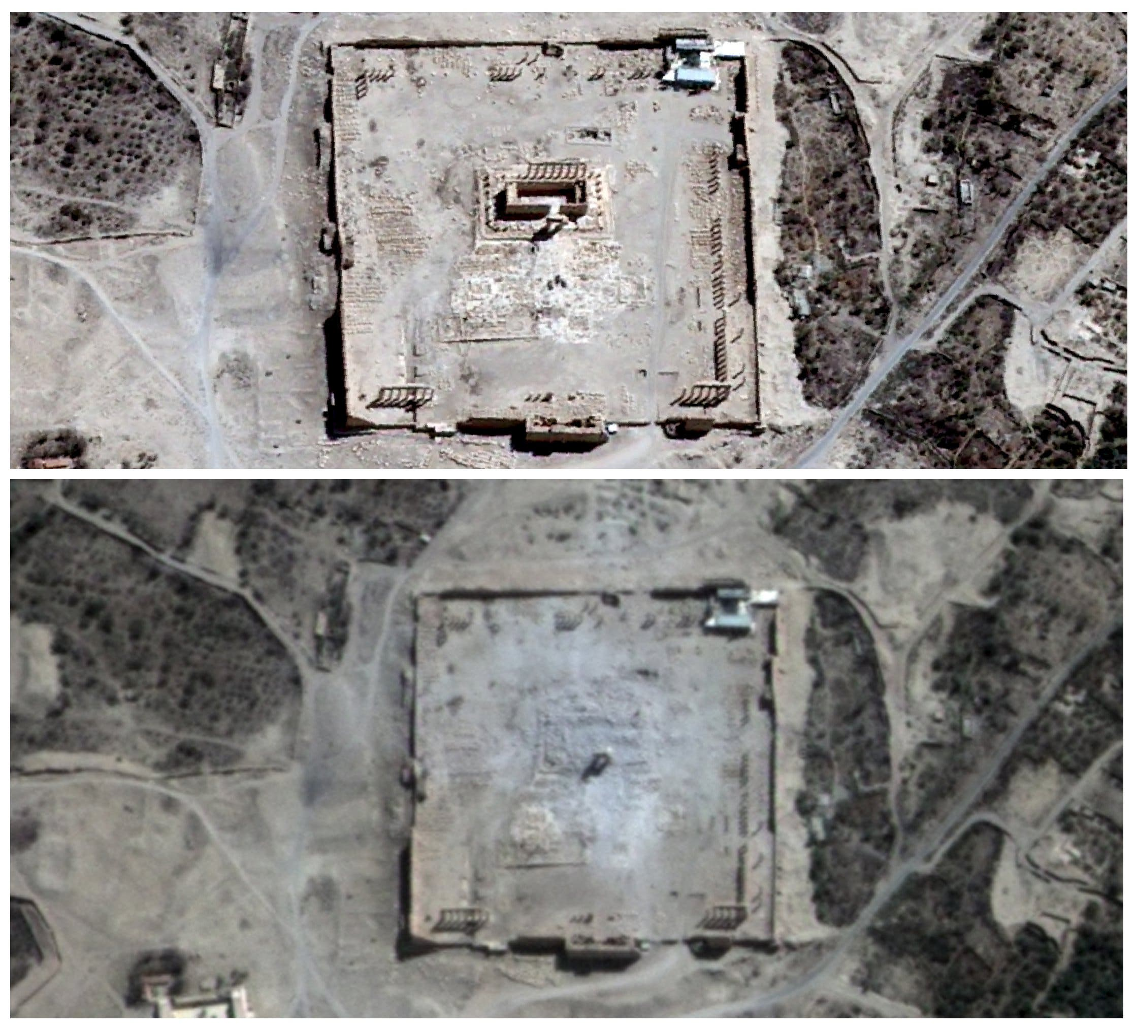 صور القمر الصناعي تظهر معبد بل قبل وبعد التدمير