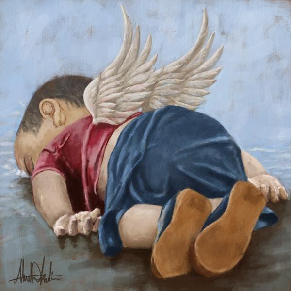 رسمة مهداة لروح الطفل الغريق بريشة الرسام السوري أحمد القاضي
