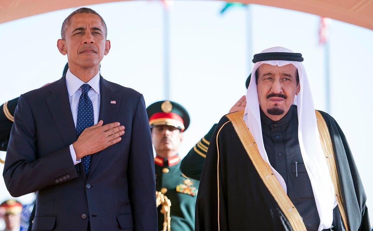 President Barack Obama and Saudi Arabian King Salman bin Abdul Aziz stand during the arrival ceremony in Riyadh back in January. (File photo: AP)