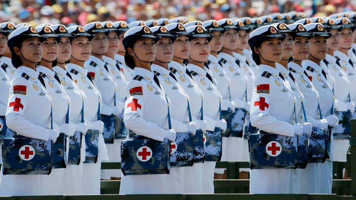 Chinese military medics take part in a parade commemorating the 70th anniversary of Japan's surrender during World War II held in front of Tiananmen Gate in Beijing. (AP)